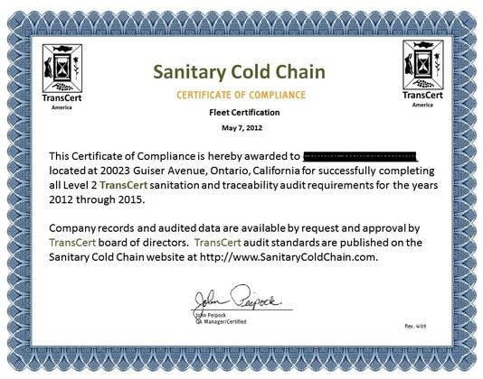 food tracking, TransCert TransCert Certificate